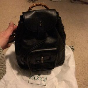 Vintage Gucci backpack! Bamboo handles perfect!